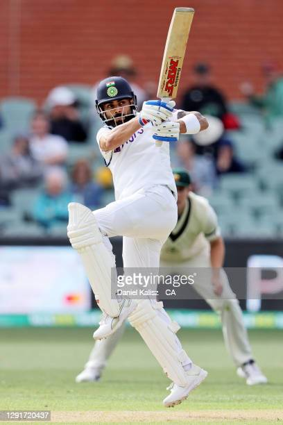 Virat Kohli of India bats during day one of the First Test match between Australia and India at Adelaide Oval on December 17, 2020 in Adelaide,...