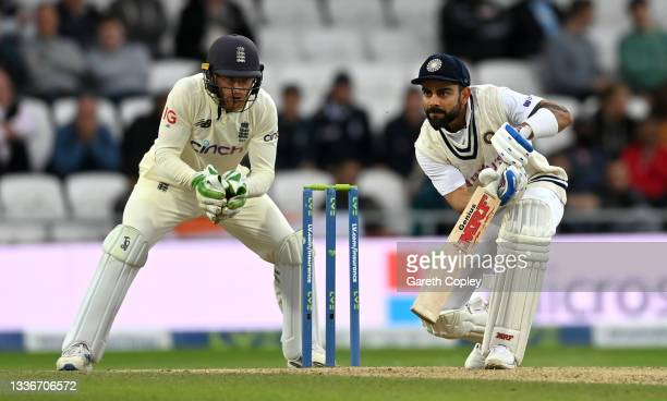 Virat Kohli of India bats during day three of the Third LV= Insurance Test Match between England and India at Emerald Headingley Stadium on August...