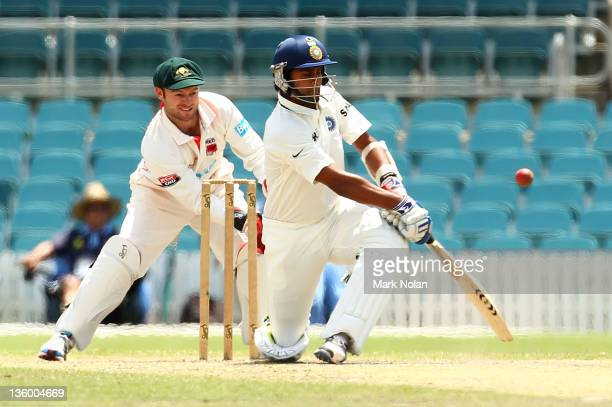Virat Kohli of India bats during day two of the International Tour match between India and the Cricket Australia Chairman's XI at Manuka Oval on...