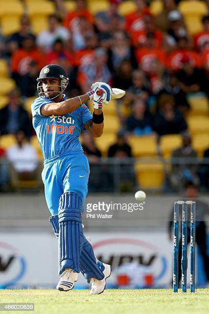 Virat Kohli of India bats during Game 5 of the men's one day international between New Zealand and India at Westpac Stadium on January 31 2014 in...