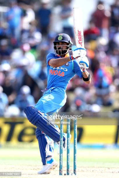 Virat Kohli of India bats during game two of the One Day International Series between New Zealand and India at Bay Oval on January 26 2019 in Mount...
