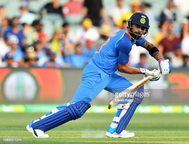 Virat Kohli of India bats during game two of the One Day International series between Australia and India at Adelaide Oval on January 15 2019 in...