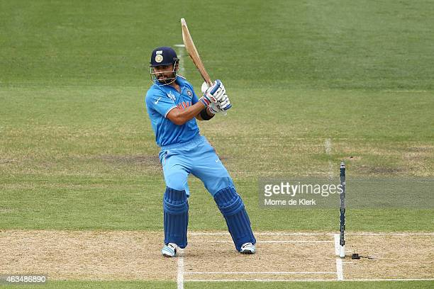 Virat Kohli of India bats during the 2015 ICC Cricket World Cup match between India and Pakistan at Adelaide Oval on February 15, 2015 in Adelaide,...