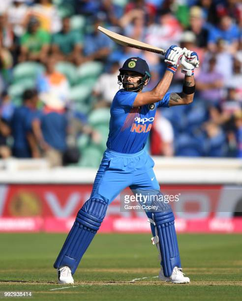 Virat Kohli of India bats during the 2nd Vitality International T20 match between England and India at SWALEC Stadium on July 6 2018 in Cardiff Wales