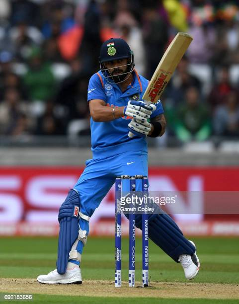 Virat Kohli of India bats during the ICC Champions Trophy match between India and Pakistan at Edgbaston on June 4 2017 in Birmingham England