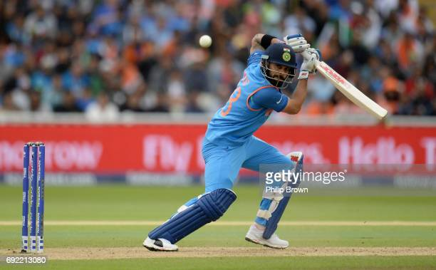 Virat Kohli of India bats during the ICC Champions Trophy match between India and Pakistan at Edgbaston cricket ground on June 4 2017 in Birmingham...