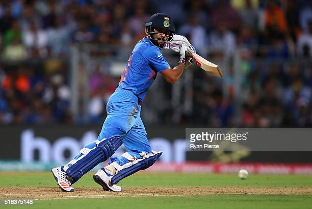 Virat Kohli of India bats during the ICC World Twenty20 India 2016 Semi Final match between West Indies and India at Wankhede Stadium on March 31...