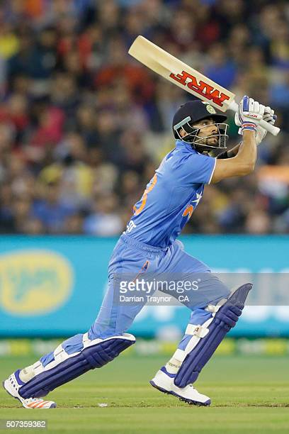 Virat Kohli of India bats during the International Twenty20 match between Australia and India at Melbourne Cricket Ground on January 29, 2016 in...