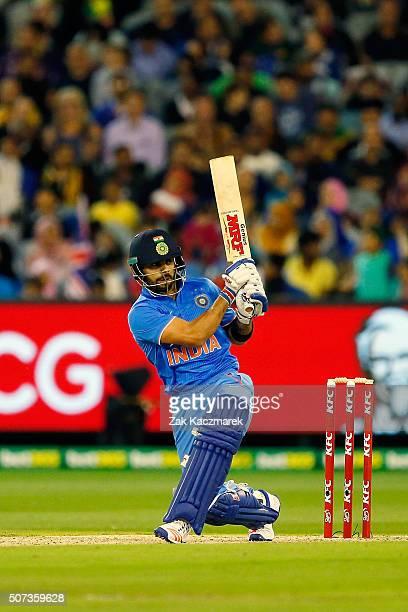 Virat Kohli of India bats during the International Twenty20 match between Australia and India at Melbourne Cricket Ground on January 29 2016 in...
