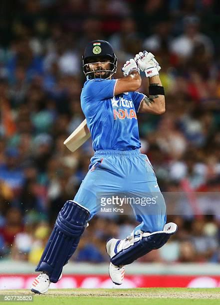 Virat Kohli of India bats during the International Twenty20 match between Australia and India at Sydney Cricket Ground on January 31 2016 in Sydney...