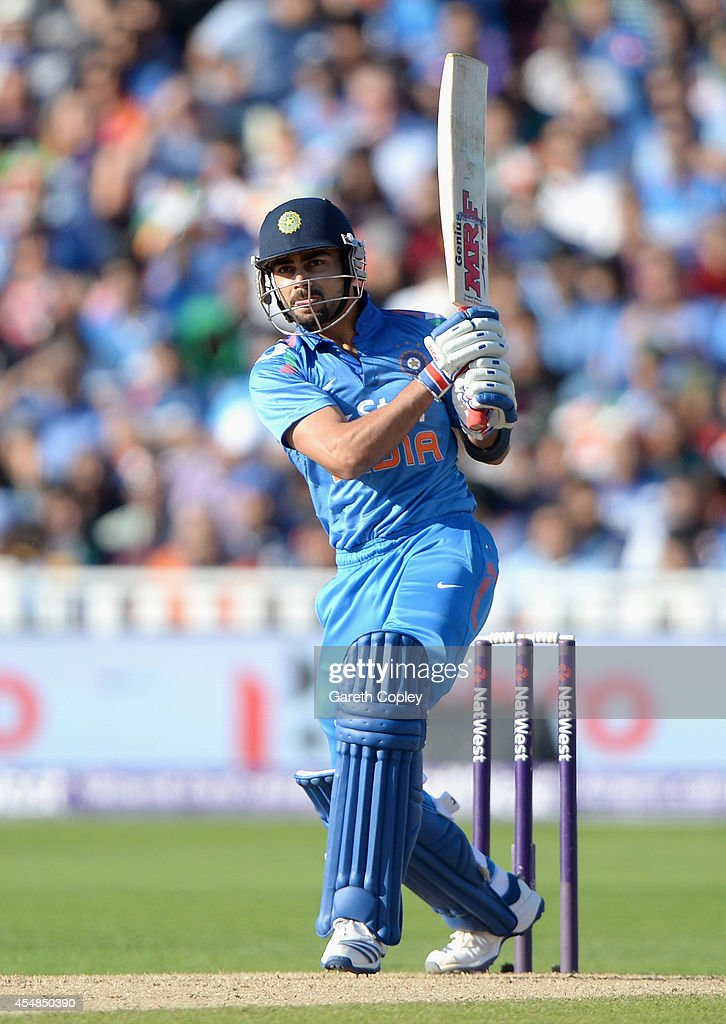 Virat Kohli of India bats during the NatWest International T20 between England and India at Edgbaston on September 7, 2014 in Birmingham, England.