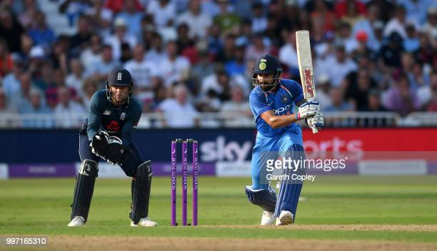 Virat Kohli of India bats during the Royal London OneDay match between England and India at Trent Bridge on July 12 2018 in Nottingham England