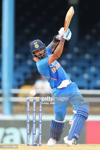Virat Kohli of India bats during the second MyTeam11 ODI between the West Indies and India at the Queen's Park Oval on August 11, 2019 in Port of...