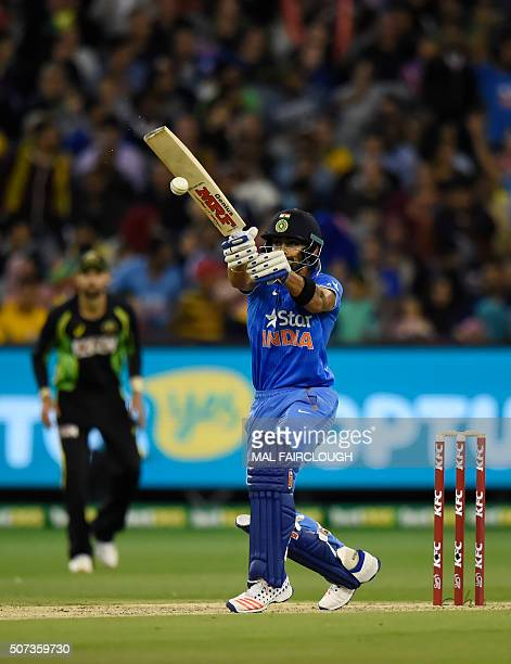 Virat Kohli of India bats during the second Twenty20 international cricket match between Australia and India at the MCG in Melbourne on January 29...