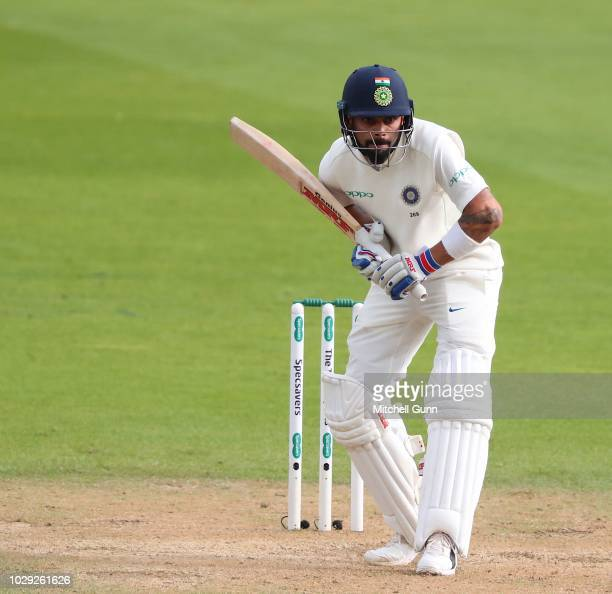 Virat Kohli of India batting during day two of the 5th Specsavers test match between England and India at The Kia Oval Cricket Ground on September 8...
