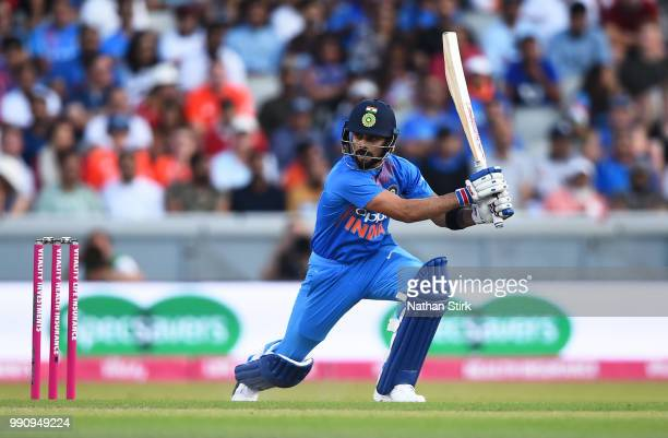 Virat Kohli of India batting during the 1st Vitality International T20 match between England and India at Emirates Old Trafford on July 3 2018 in...