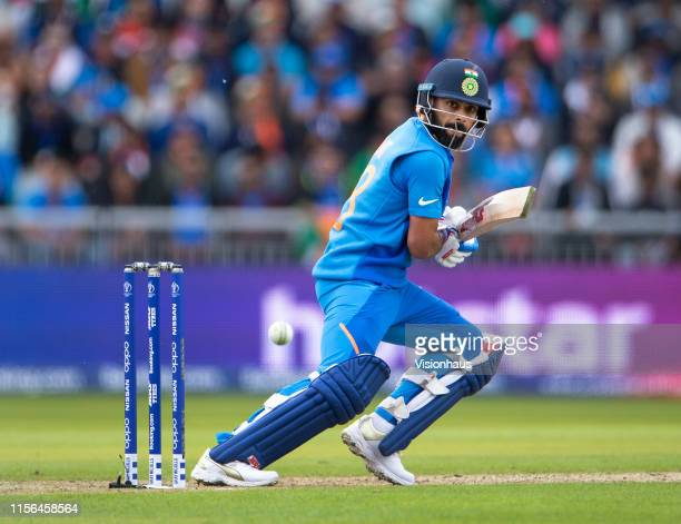 Virat Kohli of India batting during the Group Stage match of the ICC Cricket World Cup 2019 between Pakistan and India at Old Trafford on June 16...