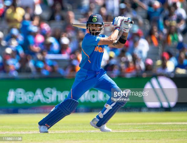 Virat Kohli of India batting during the Group Stage match of the ICC Cricket World Cup 2019 between India and New Zealand at Old Trafford on June 27,...
