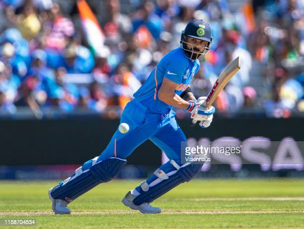 Virat Kohli of India batting during the Group Stage match of the ICC Cricket World Cup 2019 between India and New Zealand at Old Trafford on June 27...