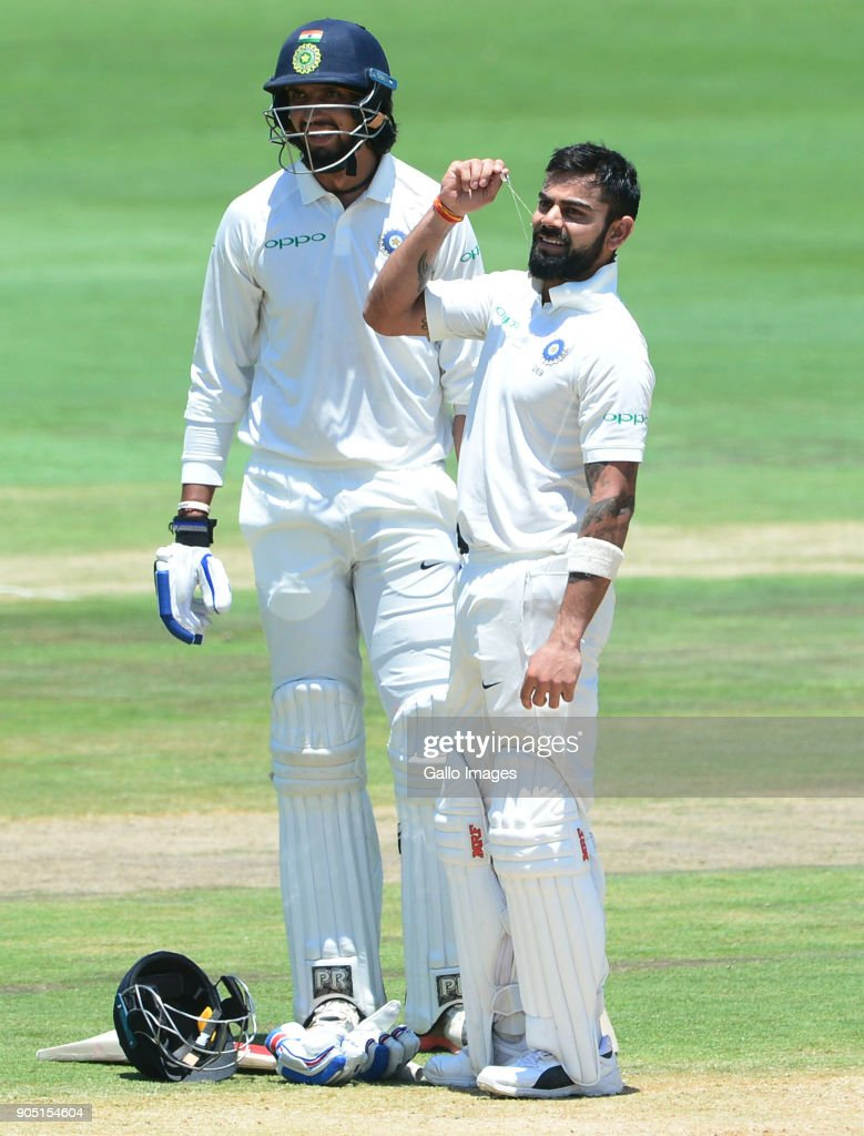 Virat Kohli of India celebrate 150 runs during day 3 of the 2nd Sunfoil Test match between South Africa and India at SuperSport Park on January 15, 2018 in Pretoria, South Africa.