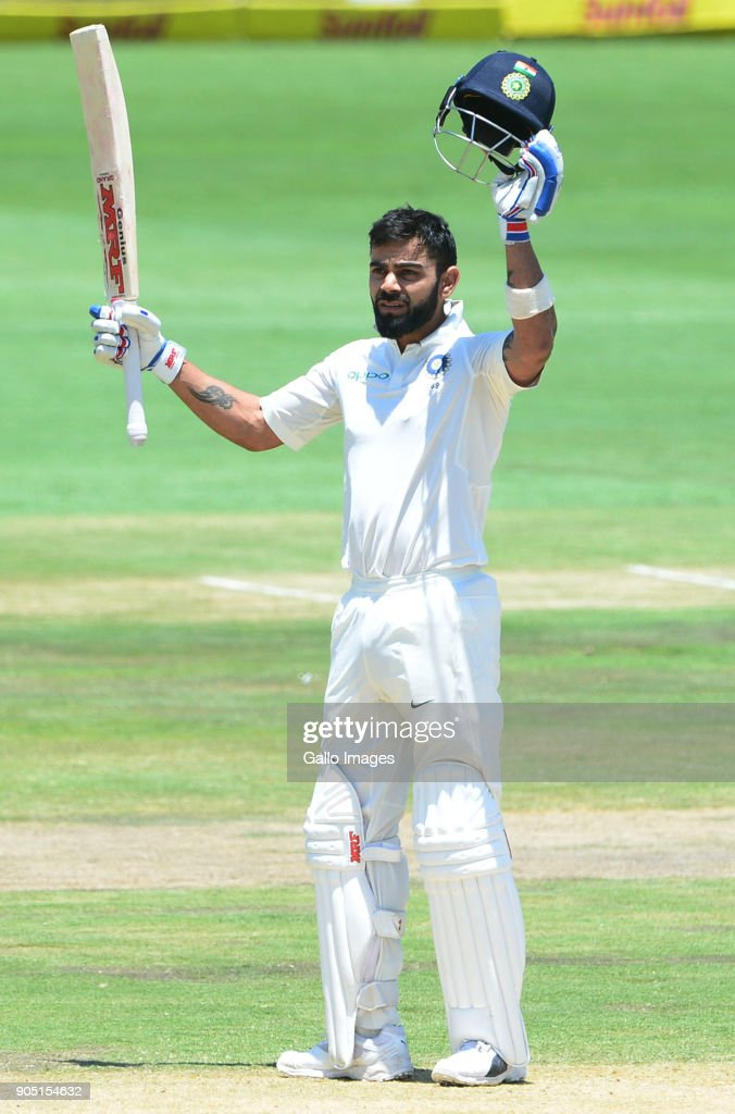 Virat Kohli of India celebrates 150 runs during day 3 of the 2nd Sunfoil Test match between South Africa and India at SuperSport Park on January 15, 2018 in Pretoria, South Africa.