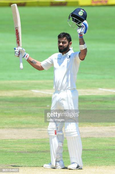 Virat Kohli of India celebrates 150 runs during day 3 of the 2nd Sunfoil Test match between South Africa and India at SuperSport Park on January 15...