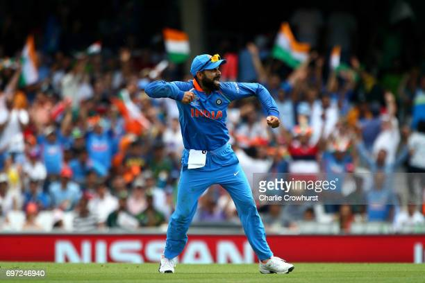 Virat Kohli of India celebrates a wicket during the ICC Champions Trophy Final match between India and Pakistan at The Kia Oval on June 18 2017 in...