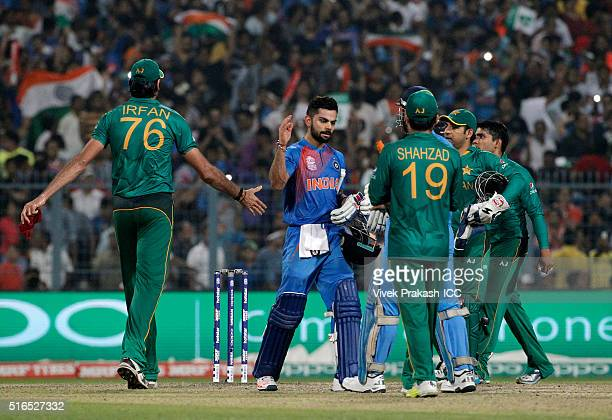 Virat Kohli of India celebrates after India won during the ICC World Twenty20 India 2016 match between Pakistan and India at Eden Gardens on March...