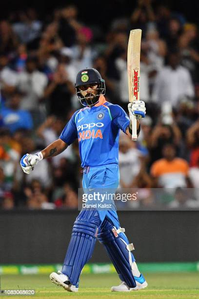 Virat Kohli of India celebrates after reaching his century during game two of the One Day International series between Australia and India at...