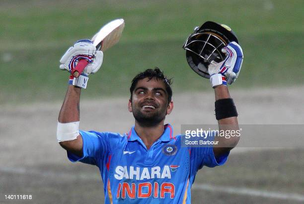 Virat Kohli of India celebrates after reaching his century during the One Day International match between India and Sri Lanka at Bellerive Oval on...