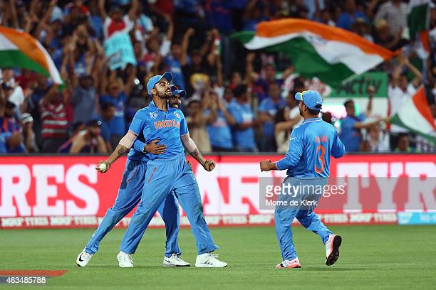 Virat Kohli of India celebrates after taking a catch to dismiss Shahid Afridi of Pakistan during the 2015 ICC Cricket World Cup match between India...