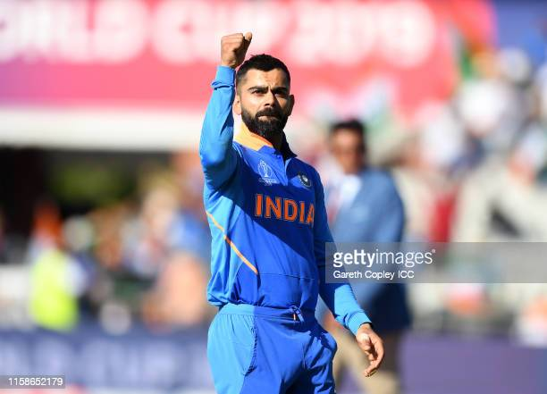 Virat Kohli of India celebrates as he leaves the pitch during the Group Stage match of the ICC Cricket World Cup 2019 between West Indies and India...