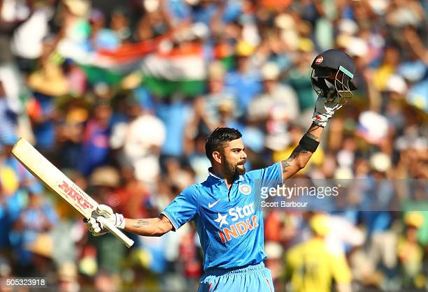 Virat Kohli of India celebrates as he reaches his century during game three of the One Day International Series between Australia and India at the...
