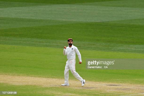 Virat Kohli of India celebrates during day five of the First Test match in the series between Australia and India at Adelaide Oval on December 10...
