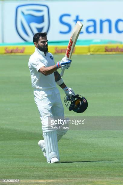 Virat Kohli of India celebrates his 100 runs during day 3 of the 2nd Sunfoil Test match between South Africa and India at SuperSport Park on January...