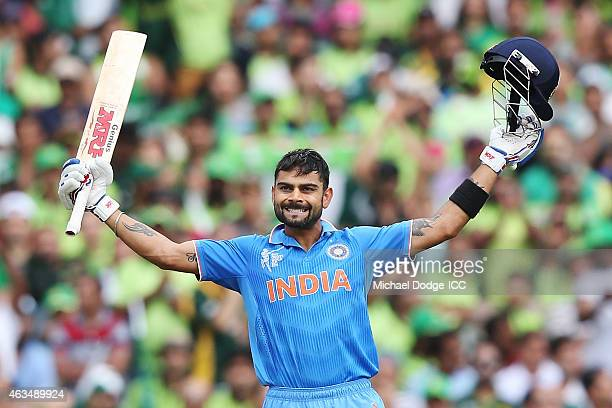 Virat Kohli of India celebrates his century during the 2015 ICC Cricket World Cup match between India and Pakistan at Adelaide Oval on February 15...