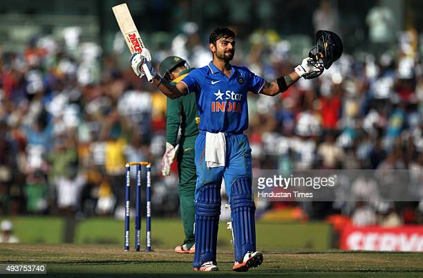 Virat Kohli of India celebrates his century during the 4th One Day International match against South Africa at MA Chidambaram Stadium or Chepauk...