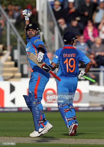Virat Kohli of India celebrates reaching his century during the 5th Natwest One Day International Series match between England and India at the...