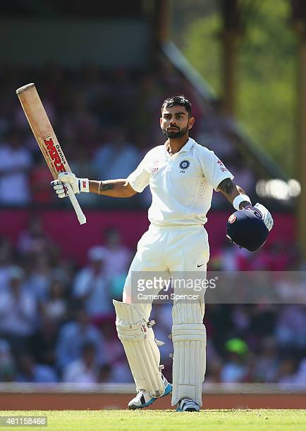 Virat Kohli of India celebrates scoring a century during day three of the Fourth Test match between Australia and India at Sydney Cricket Ground on...
