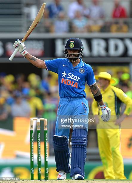 Virat Kohli of India celebrates scoring a half century during game two of the Victoria Bitter One Day International Series between Australia and...
