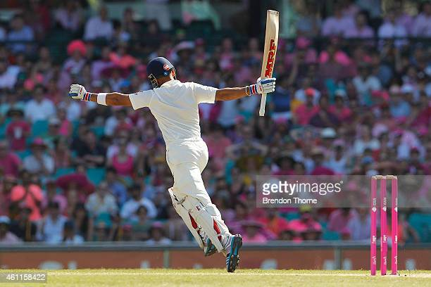 Virat Kohli of India celebrates scoring his century during day three of the Fourth Test match between Australia and India at Sydney Cricket Ground on...