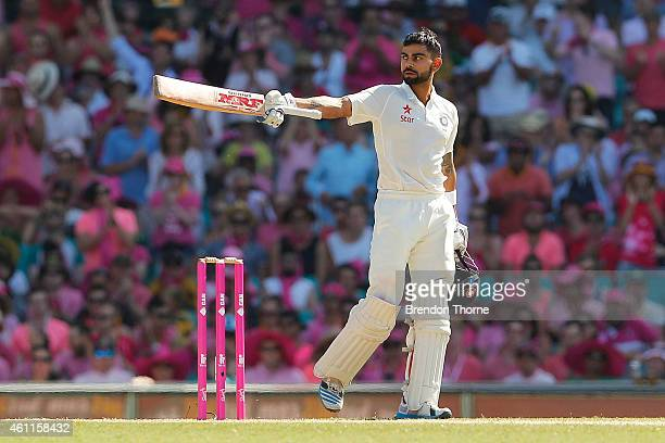 Virat Kohli of India celebrates scoring his century during day three of the Fourth Test match between Australia and India at Sydney Cricket Ground on...