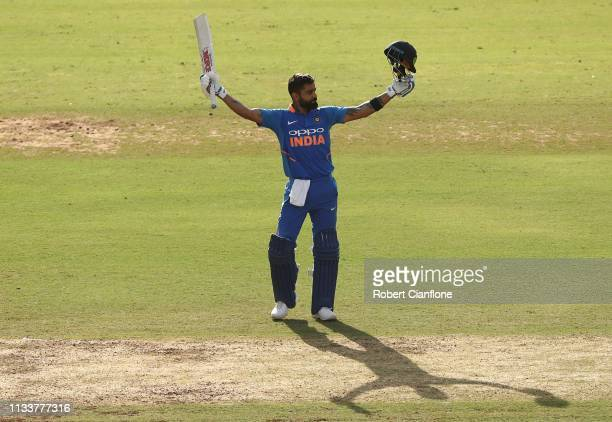 Virat Kohli of India celebrates scoring his century during game two of the One Day International series between India and Australia at Vidarbha...