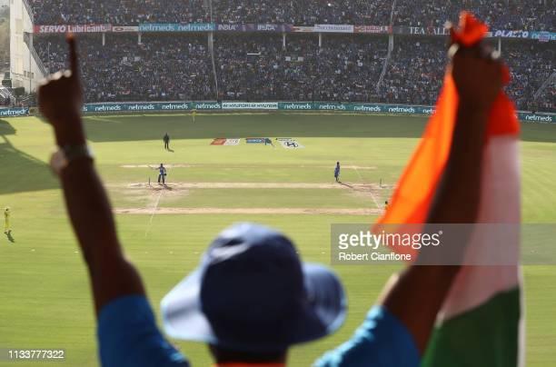Virat Kohli of India celebrates scoring his century during game two of the One Day International series between India and Australia at Vidarbha...