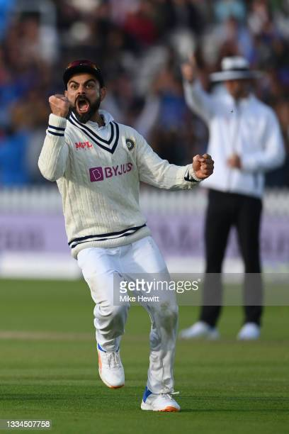 Virat Kohli of India celebrates the crucial wicket of Jos Buttler of England during the Second LV= Insurance Test Match: Day Five between England and...