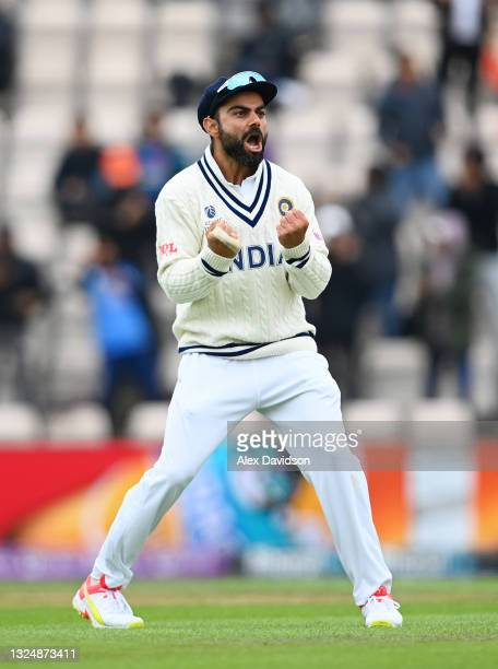 Virat Kohli of India celebrates the wicket of BJ Watling of New Zealand during Day 5 of the ICC World Test Championship Final between India and New...