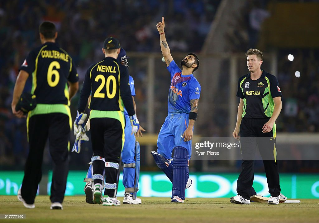 Virat Kohli of India celebrates victory during the ICC WT20 India Group 2 match between India and Australia at IS Bindra Stadium on March 27 2016 in..