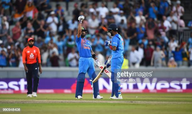 Virat Kohli of India celebrates with Lokesh Rahul after they beat England during the 1st Vitality International T20 match between England and India...