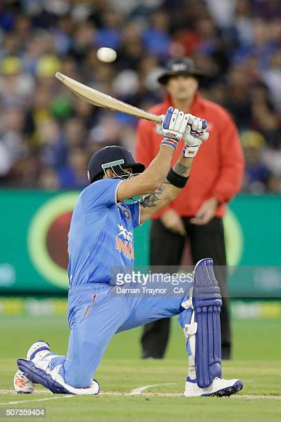 Virat Kohli of India evades a short ball during the International Twenty20 match between Australia and India at Melbourne Cricket Ground on January...