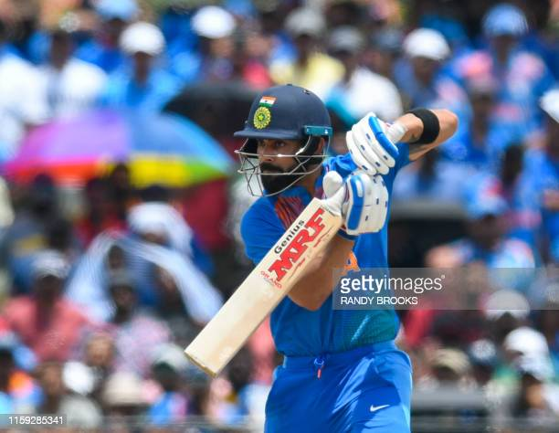 Virat Kohli of India hits 4 during the 1st T20i match between West Indies and India at Central Broward Regional Park Stadium in Fort Lauderdale,...